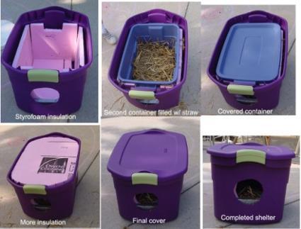 Katthus av en gammal plastlåda, frigolit och halm! Tyg ska man inte använda alls i huset för det drar åt sig fukt! Runt ingångshålet kan man sätta silvertejp så det inte blir vasst! Detta hus kan rädda en katt i minusgrader!