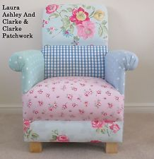 Laura Ashley Patchwork Fabric Adult Chair Clarke Gingham Pink Nursery Duck Egg