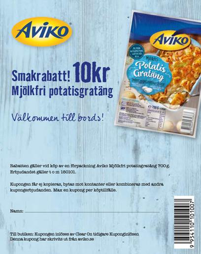 Rabattkupong på Aviko mjölkfri potatisgratäng