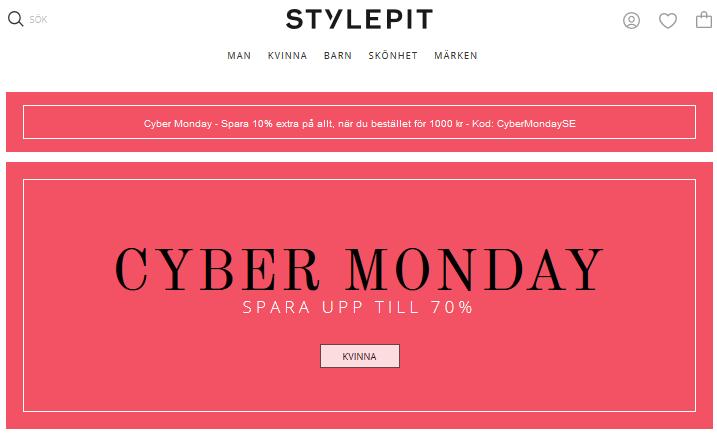 CyberMonday på Stylepit! Få 10% rabatt på redan nedsatt pris!