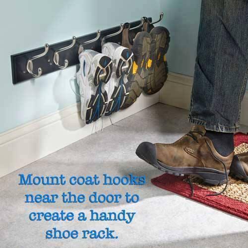 Hänga upp skor på handdukshållare!