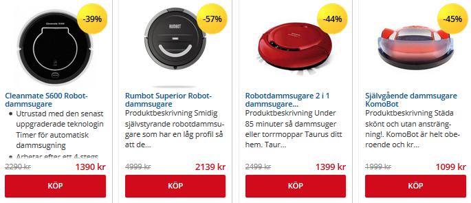 Nedsatt pris på robotdammsugare
