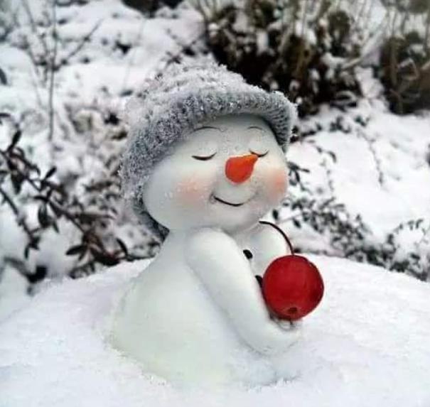 söt snögubbe