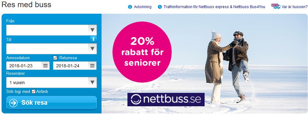20% rabatt för alla över 65 år hos Nettbuss