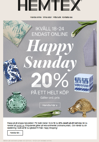 Ikväll Happy Sunday på Hemtex med 20% rabatt
