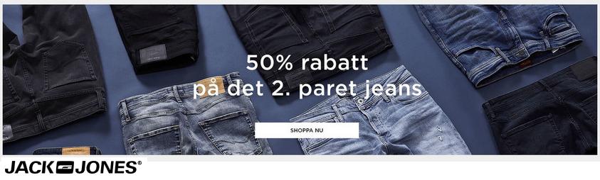 50% rabatt på det 2. paret jeans