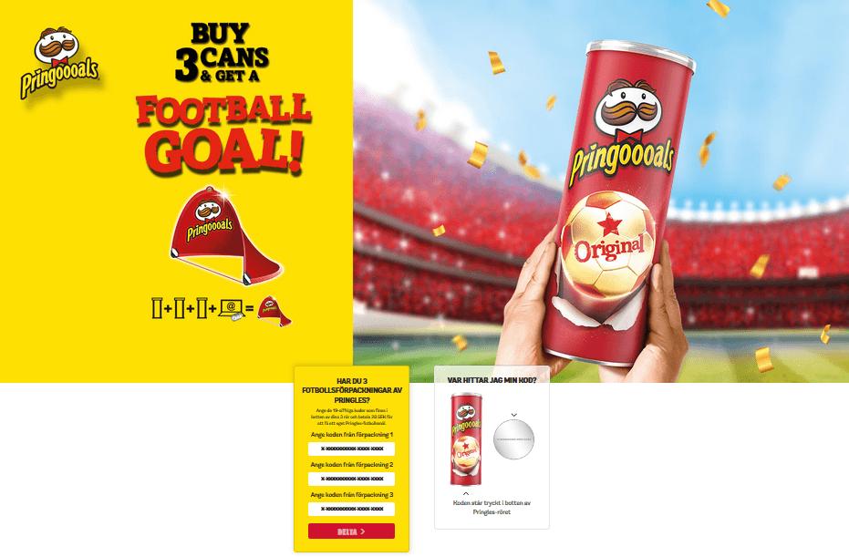 Registrera tre paket Pringles och få ett mål