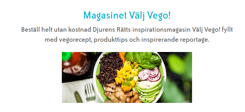 """Gratis inspirationstidning """"Vego"""" från Djurens rätt!"""