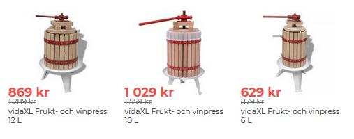 Fynda fruktpress med nedsatt pris