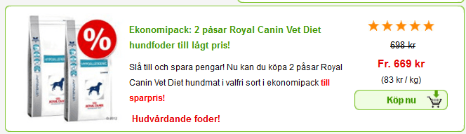 Rabatterbjudande på Royal Canin veterinärfoder för hund