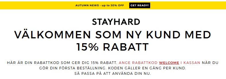 Upp till 45% rabatt på Stayhard som ny kund!