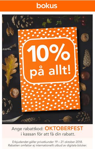 10% rabatt på Bokus med rabattkod