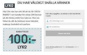 100 kr rabatt hos LYKO