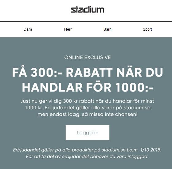 300 kr rabatt på Stadium idag!