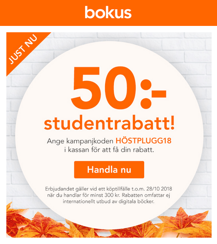 50 kr rabatt för studenter på Bokus med rabattkod