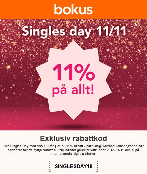 Singel days på Bokus! 11% rabatt på allt!