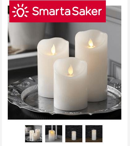 Block- och stearinljus på batteri med glimmande låga