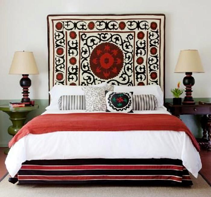 Använda en matta som sänggavel