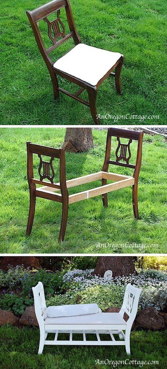 Två gamla stolar blir en elegant soffa