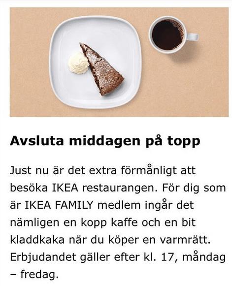 Ikea bjuder på kladdkaka och kaffe på maten