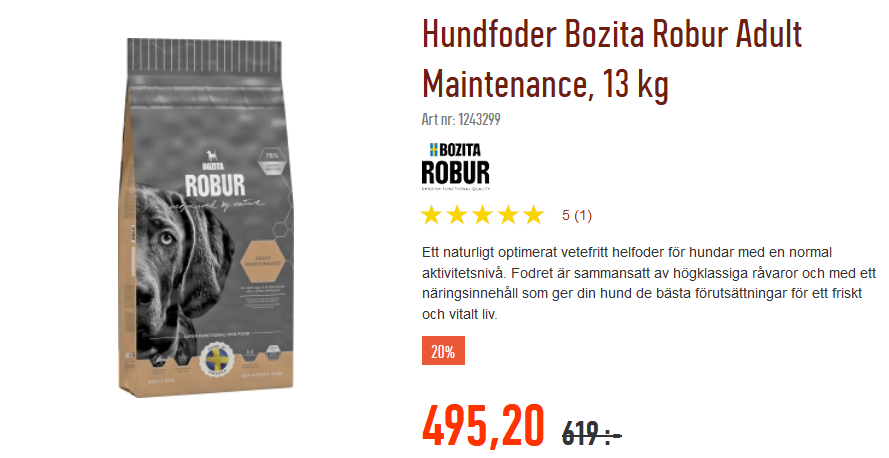 20 % rabatt på Bozita Robur hundfoder och Feline kattfoder