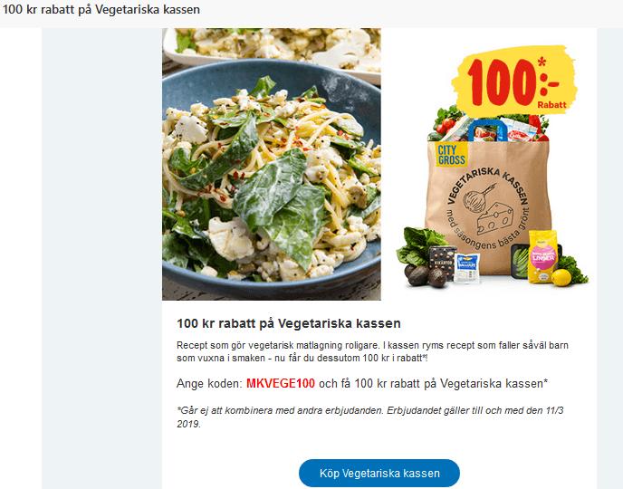 100 kr rabatt på Vegetariska kassen på City Gross med rabattkod