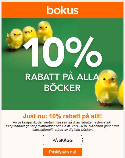Rabattkod 10% på Bokus i Påskhelgen