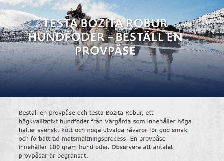 Gratis provpåse Bozita Robur till hund