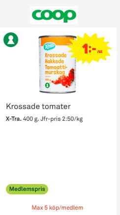 Krossade tomater 1kr/burken på COOP denna vecka