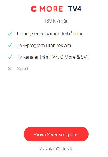 2 veckor gratis med C MORE tv4