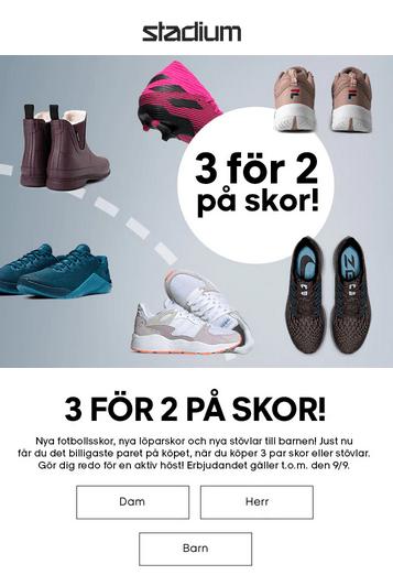 Köp 3 par skor och betala för 2!