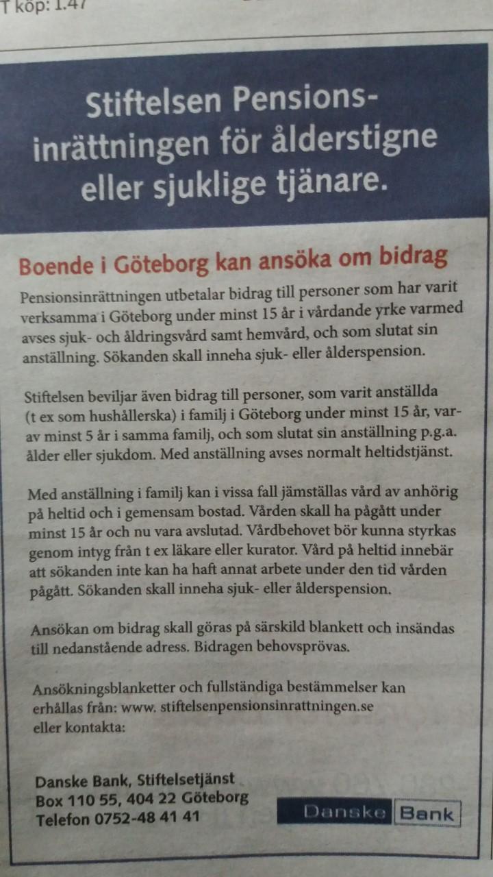 Fond till ålderstigna eller sjuka hushållerskor och vårdare i Göteborg