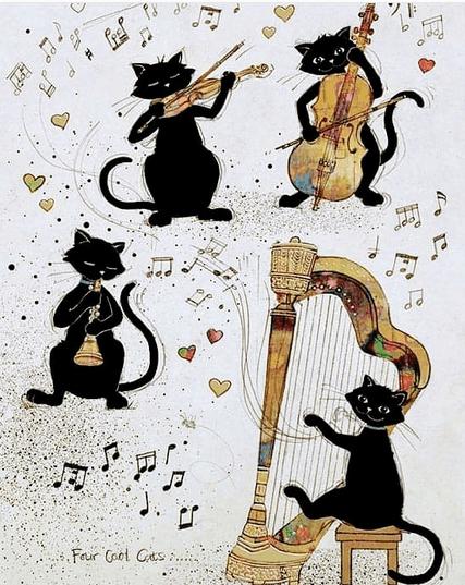 katter spelar instrument