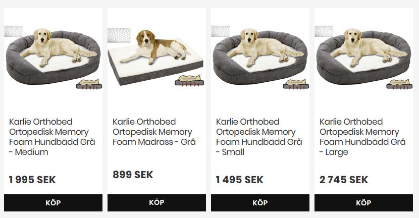 Ortopediska bäddar till hund