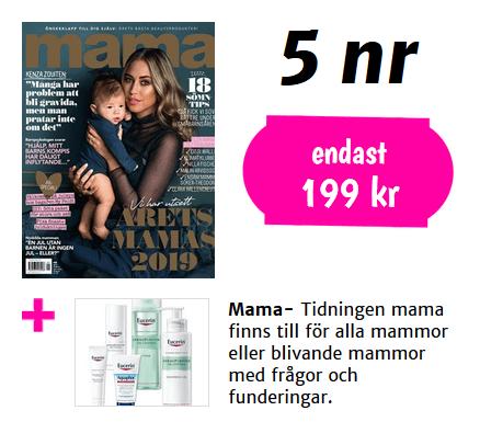 Tidningen Mama hudvårdsprodukter