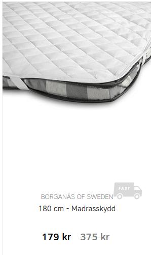 Halva priset på Borganäs of Sweden madrasskydd