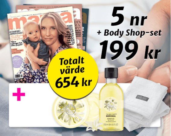 Tidningen Mama med Body shop produkter