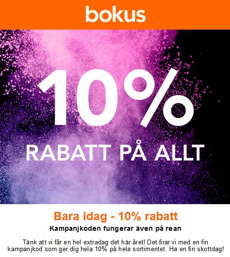 10% rabatt på alla böcker på Bokus, gäller även rean!