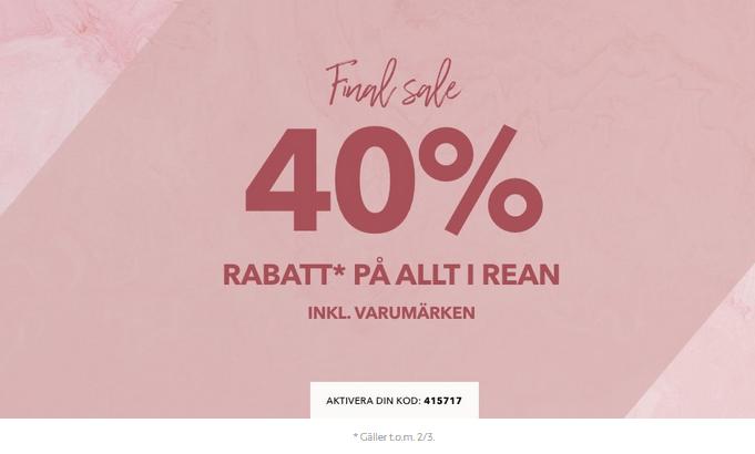 40% rabatt på hela ellos rean