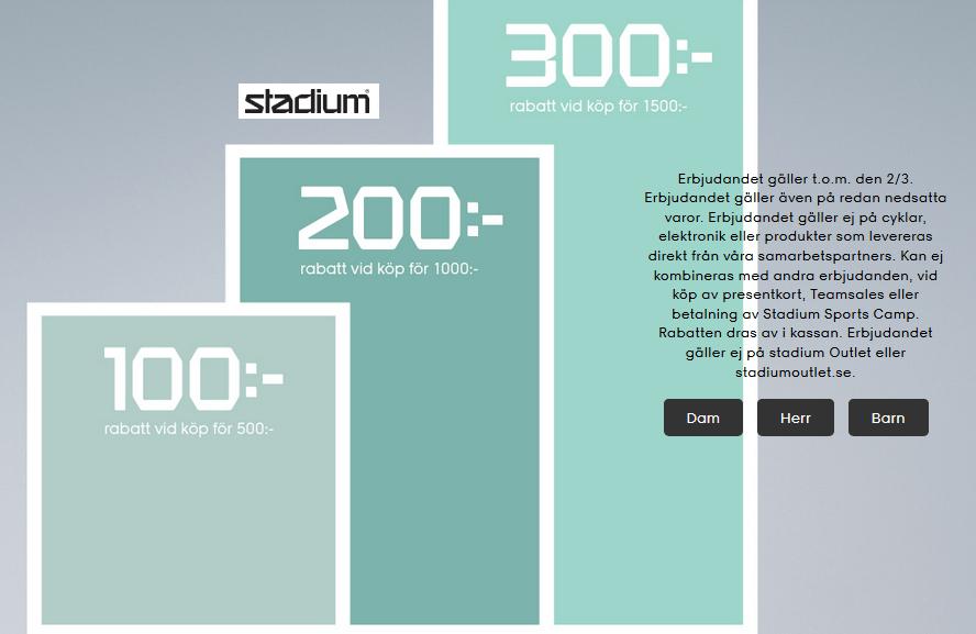 100 kr rabatt på Stadium