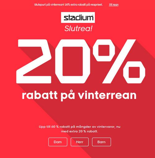 20% rabatt på slutrean på Stadium