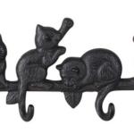 Söt krokhållare med katter i gjutjärn