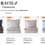 2st satin påslakanset betala för ett, kampanj på Hemtex