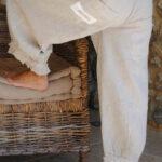 Söta byxor av linne med volangdragsko